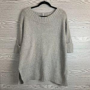 Free People Gray 3/4 Sleeve Knit Oversized Sweater